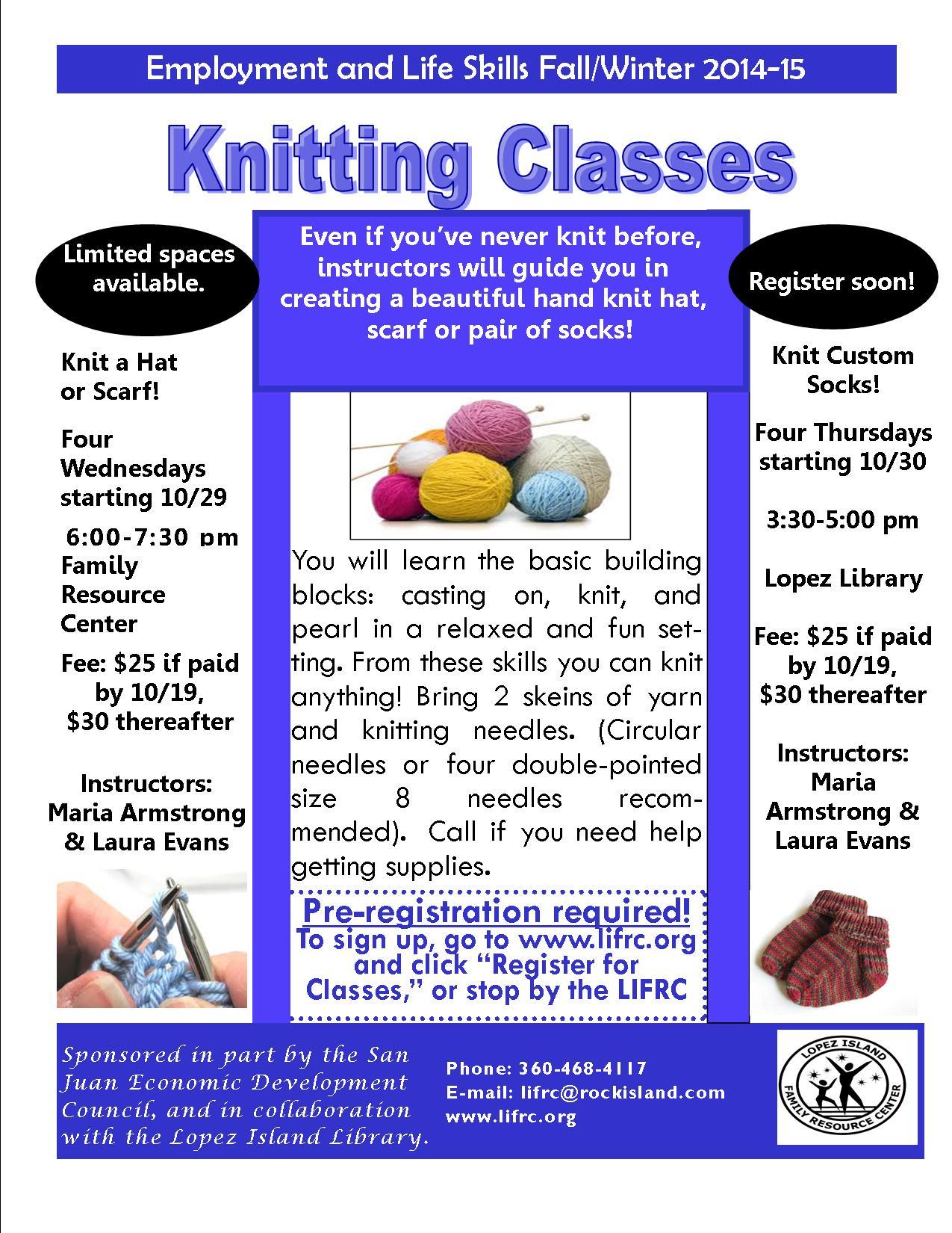 Classes workshops lopez island library knitting workshop october 2014 flier reheart Gallery